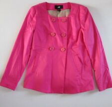 H&M Bright Pink Button Up Long Sleeve Jacket With Square Neck Size 10/36 NEW