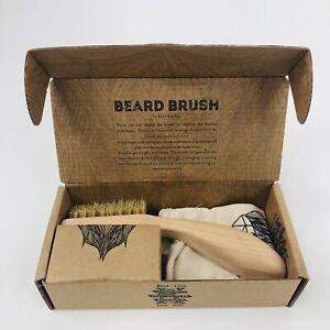 Kent Men's Beard Mustache Brush Natural White Boar Bristle Right Hand Open Box