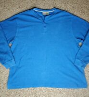 LL Bean Men's Blue Thermal Pullover Long Sleeves Shirt Size XXL 100% Cotton
