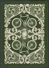 Playing Cards 1 Single Swap Card - Antique Wide BICYCLE BIKE + LANTERN Cycling