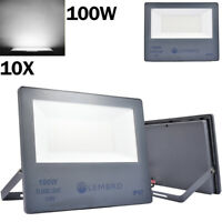 10x 100W LED Flood Light Cool White Outdoor Security Floodlight Garden Spot Lamp