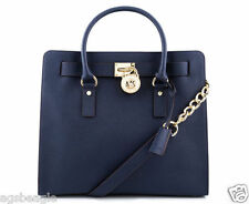 Michael Kors Bag 30S2GHMT3L MK Hamilton  Large Leather NS Tote Navy Agsbeagle