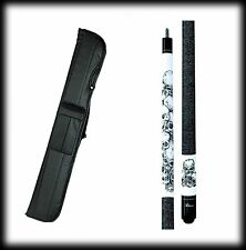 New Action ADV60 Pool Cue Stick - White Stained Stacked Skulls 18 - 21 oz & Case