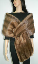 BROWN MINK FUR COLLAR STOLE SCARF CAPE WRAP  n171