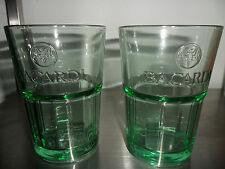 Bacardi Rum Glasses x 2 Green Bacardi Embossed Glasses New