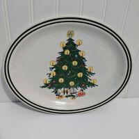 Vintage Homer Laughlin Best China Christmas Tree Double Green Rim Oval Platter