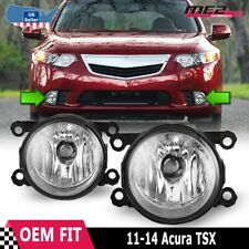 Fits 11-14 Acura TSX PAIR Factory Bumper Replacement Fog Lights Clear Lens DOT