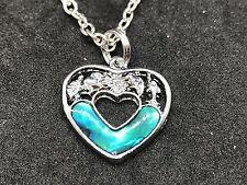 "Heart New Zealand Abalone Charm Tibetan Silver 18"" Necklace D313"