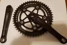 Vintage 70s Stronglight Crank arms and chainrings (50&44 t). Black Anodized.
