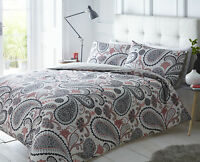 Pieridae Paisley 4 Piece Duvet Cover Fitted Sheet Pillowcase Bed Set Shell Pink
