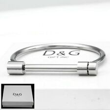 "NEW DG Gift  Men's Stainless Steel 7.5"" Round Screw Bangle Bracelet Unisex.Box"
