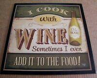 COOK WITH WINE SOMETIMES EVEN ADD 2 FOOD country kitchen 13x13 decor plaque sign