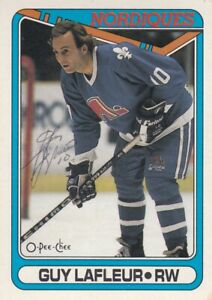 GUY LAFLEUR NO:142 AUTHENTIC AUTOGRAPH  in O PEE CHEE 1990-91  Ex cond   a