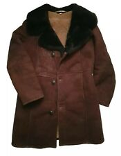 """Vintage Mens Russian Coat Jacket Brown Heavy Size L Around 42"""" Winter Cosy Lined"""