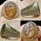 Unique Wonderful Ancient King Roman Agate intaglio Old bronze Ring
