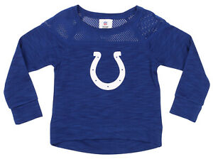 NFL Girls Youth Indianapolis Colts Streaky Performance Sweatshirt Top, Blue