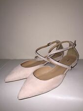NEW J.CREW SUEDE CROSS-STRAP CRYSTAL FLATS E7234 10.5 DESERT PINK $158 CURRENT!