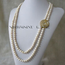 "27-31"" 7-9mm White 2Row Freshwater Pearl Necklace A-06 Gold Color U"