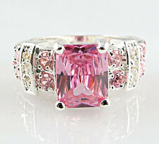 Gorgeous Woman Princess Cut 2.95ct Pink Sapphire 925 Silver Ring Size 9