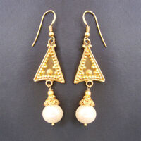 925 Sterling Silver Gold Plated Indian Handmade Pearl & Beads Earrings For GIFT