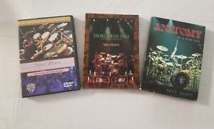 Lot of 3 Neil Peart DVDs, late Drummer for Rush three different DVDs used gently