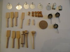 Lot of Vintage Dollhouse Kitchen Utensils - 29 Pieces - rolling pins, paddles