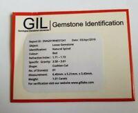 GIL Certified 1.01Ct Natural Deep Red Spinel Burma Unheated Cushion Cut Gemstone