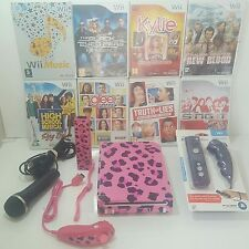 CUSTOM Wii Console 2 PLAYER Bundle for GIRLS=Pink Remotes+Singing Games+USB Mic