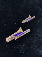 1980's Vintage Mafco Trombone (Lot of 2) Hat Pin, Lapel