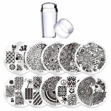 Kit 10x Stencil nail art stampo unghie acciaio+stampino timbro+spatolina BIUTEE