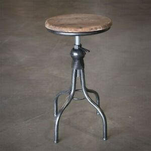 Rustic Farmhouse Wooden Seat Top Metal Stool Country Decor