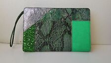 Stella McCartney Green Multi Embossed Python Clutch