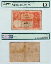 Sarawak 10 Cents P#25a (1940) *Series A* PMG 15