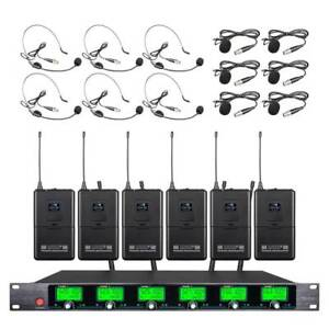 6 Channel UHF Pro Audio Wireless Microphone System 6 Lavalier Bodypack Headset