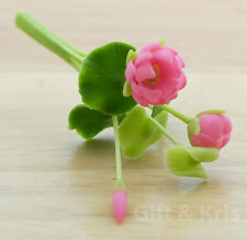 Clay Dollhouse Miniature Flower Flora Lotus Water Lily - F-Lotus007