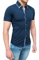 CAMICIA UOMO DIAMOND SLIM FIT ADERENTE BLU CASUAL MANICHE CORTE BUTTON DOWN
