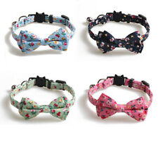 Cat Collar Floral Print Adjustable Pet Bowknot Collar With Bell For Kitten Dog