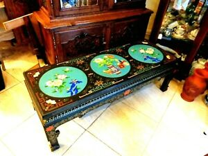 MAGNIFICENT Chinese Vintage Black Lacquer Sofa Table CLOISONNE Inserts Hand MADE