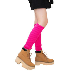 Women Leg Warmers Crochet Knit Ribbed Knee High Solid Winter Boot Wool Sock Long