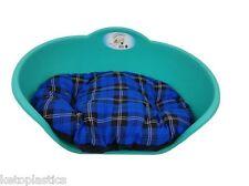 LARGE Plastic TEAL AQUA GREEN Pet Bed With BLUE TARTAN Cushion Dog Cat Sleep