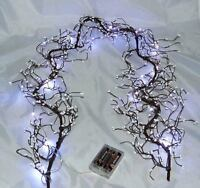 White Beaded Wire Garland 20white LED Battery lights decoration Xmas or weddings