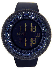 NEW JOJINO JOE RODEO MENS BLACK OUT LAB MADE CASE RUBBER BAND DIGITAL WATCH