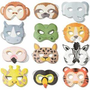 24 Pack Safari Jungle Animal Party Masks, Kids Birthday Favors Costume Dress Up