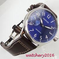 44mm PARNIS Blau Zifferblatt Edelstahl 6497 Handaufzug movement Uhr Men's Watch
