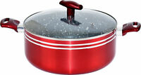 Non Stick Casserole Pot Marble Coated with Tempered Glass Lid Red