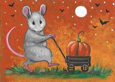 ACEO PRINT OF PAINTING RYTA HALLOWEEN PUMPKIN JOL VINTAGE STYLE FOLK ART AUTUMN