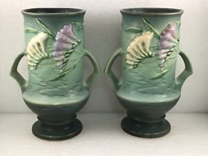 """2 Roseville Freesia Pattern #123-9 9 3/8"""" Double Handled Green Vases MCM 1940s"""