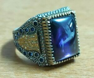 Vintage 925 Sterling Silver Ring Purple Stone/Zircon Men Jewelry size 10