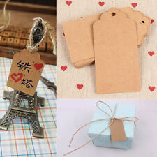 100Pc Blank Brown Kraft Paper Hang Tags Party Wedding Favor Label Card Price Tag