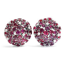 Ruby Dome Clip-On Earrings with Diamonds 18K White Gold 5.50ctw